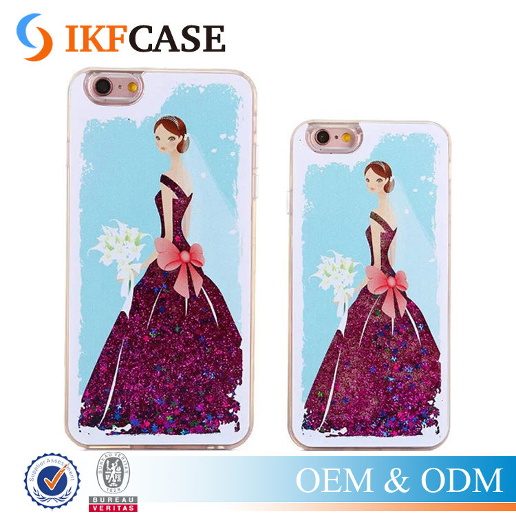 Latest Popular Glitter Stars Dynamic Liquid Quicksand Wedding Dress Skirt Girl Case for Apple iPhone 6 6S 4.7/ Plus 5.5 inch