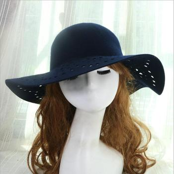 X65381A New Hot Fashion Women Lady with Wide Brim Wool Beach Caps be520819e51