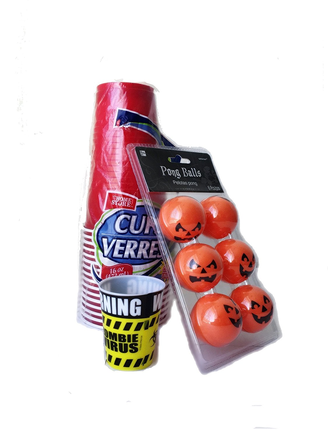 Halloween Beer Pong Table Set Orange Beer Pong Balls Party Bundle With Red Beer Pong Cups and Party Zombie Shot Glass Beer Pong Balls Set Beer Pong Table Supplies Beer Pong Set