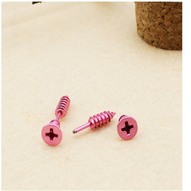 Top quality Gold Color Single Fashion Unisex Fine Stainless Steel Whole Screw Stud Earrings For Men Women Novelty Item
