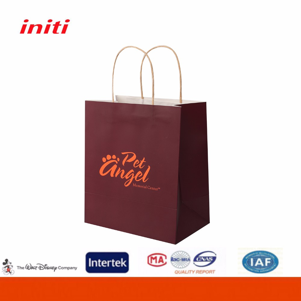 Recyclable printed kraft paper shopping bag for shopping