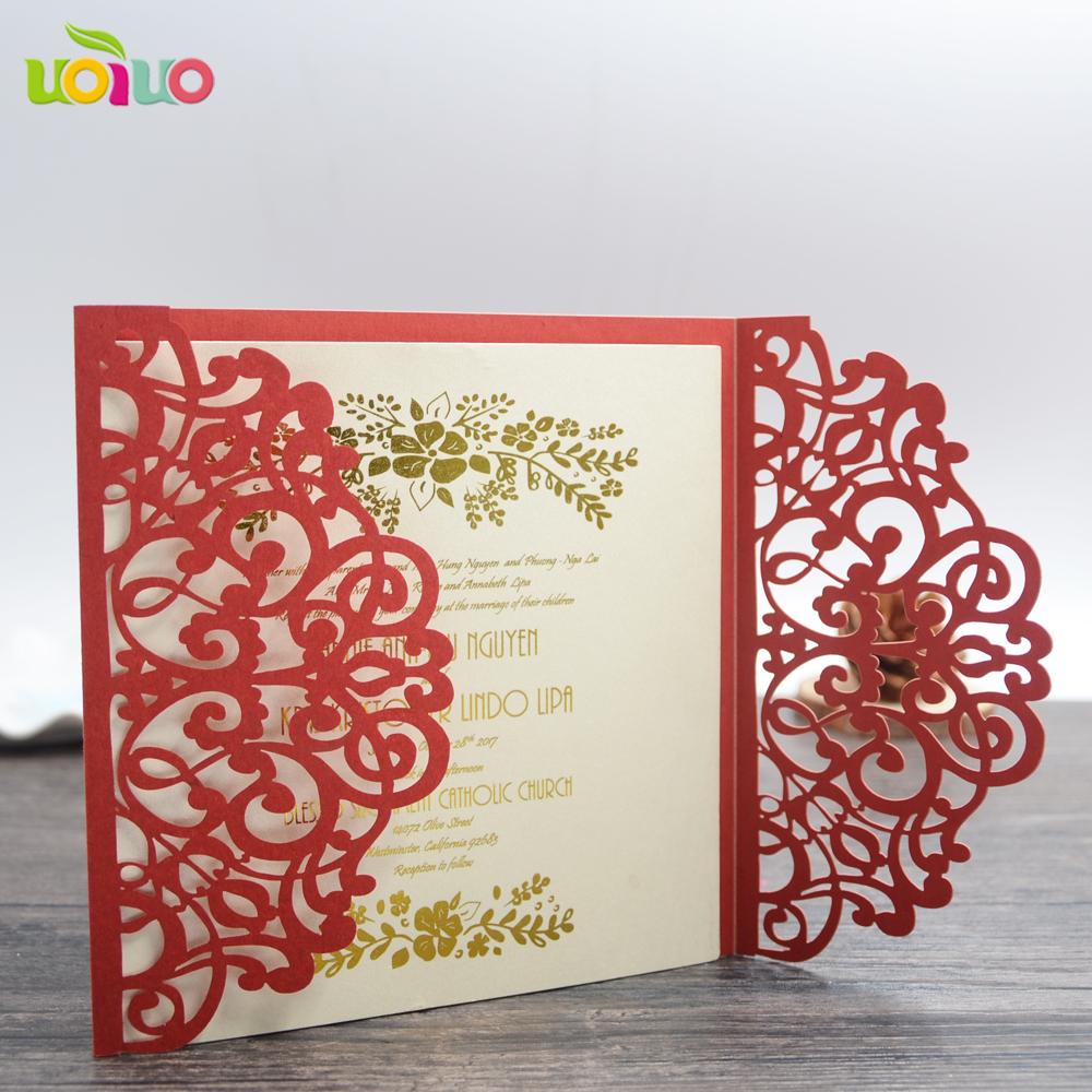 Flower Design 2017 Laser Cut Elegant Folded Luxury Wedding Card ...