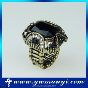 Cheap pretty fashion new model diamond black stone king and queen rings with adjust R0800