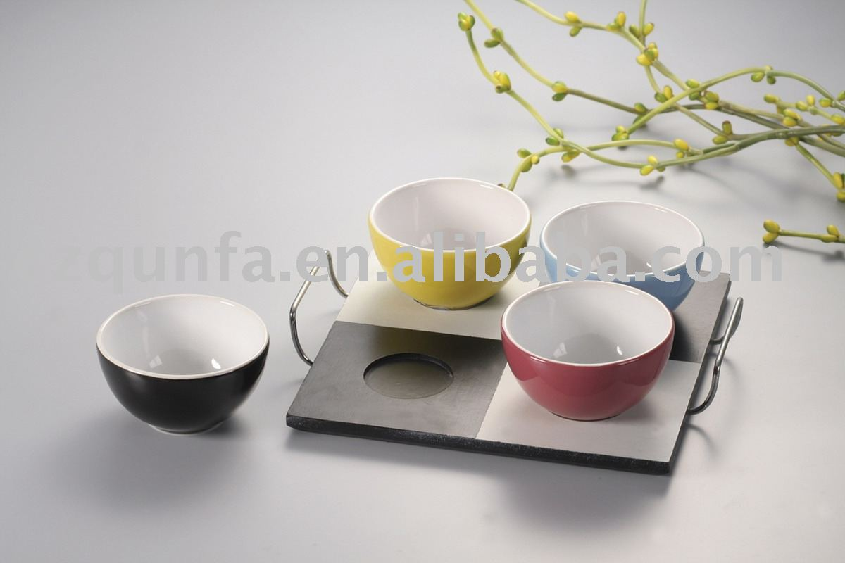 Various Color Mini Round Bulk Ceramic Bowl Set With Wooden Holder