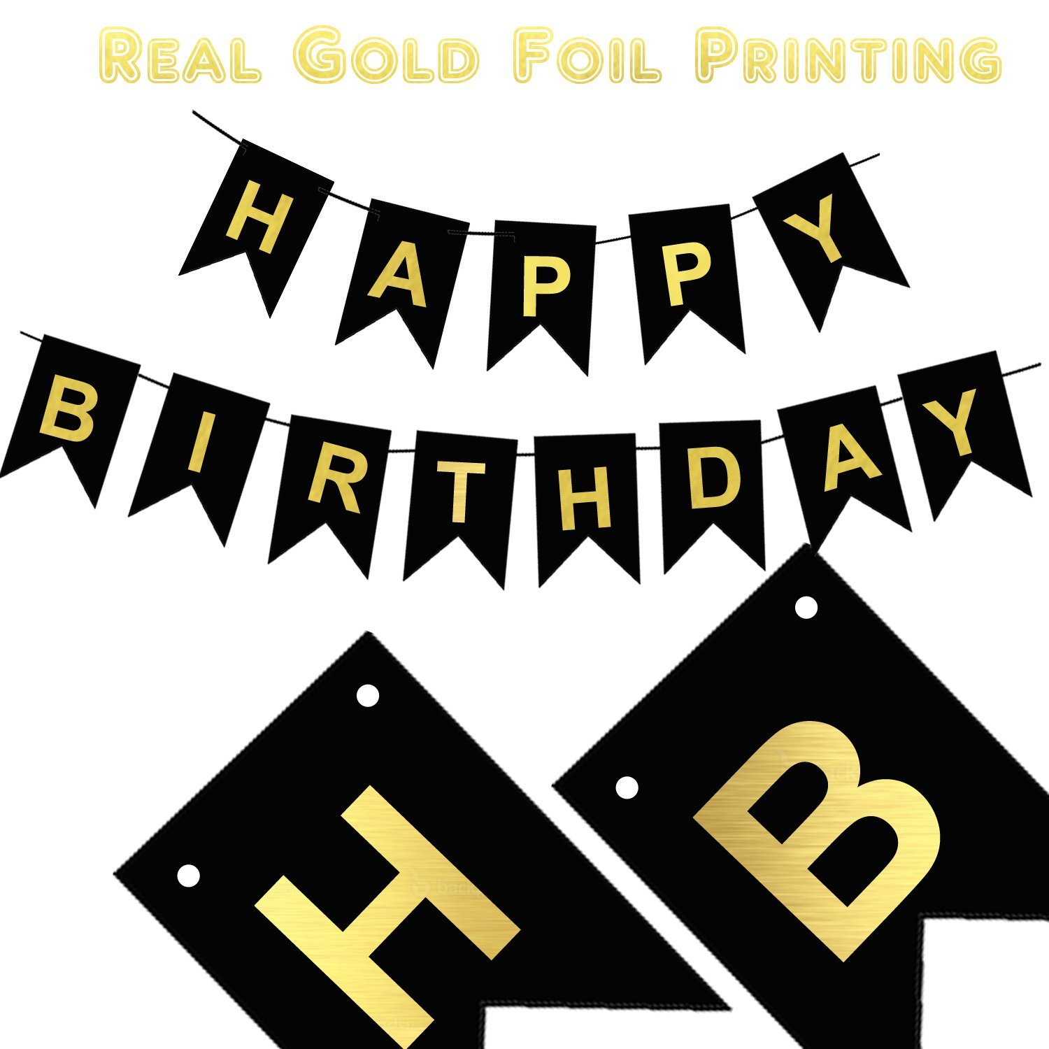 Happy Birthday Banner | Happy birthday banner gold | Adult Birthday Sign | Fabulous Gold Foil Printed Birthday Decoration | Black And Gold Card Stock-USA BRAND!!