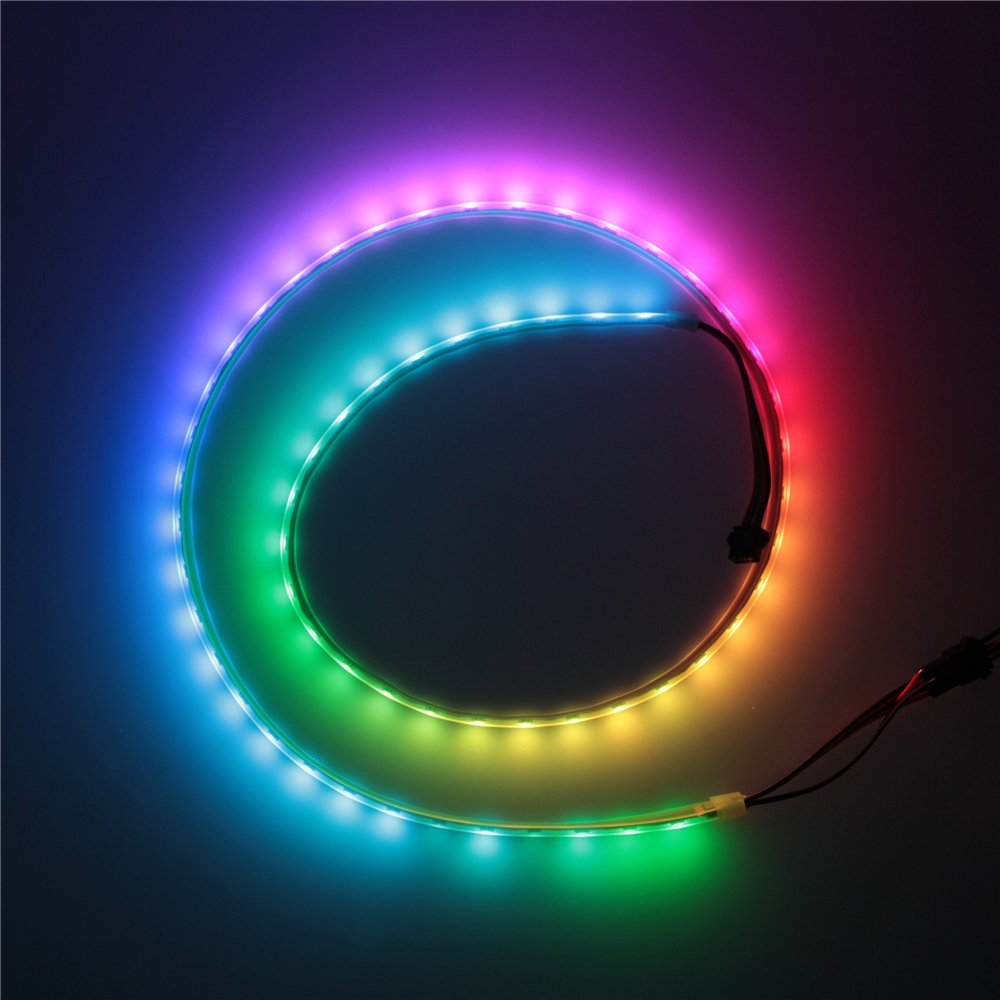 ALITOVE 3.3ft 60 Pixels WS2813 (Upgraded WS2812B) Individually Addressable RGB LED Flexible Strip Light Signal break-point continuous transmission 60LEDs/M Waterproof IP67 Black PCB 5V DC