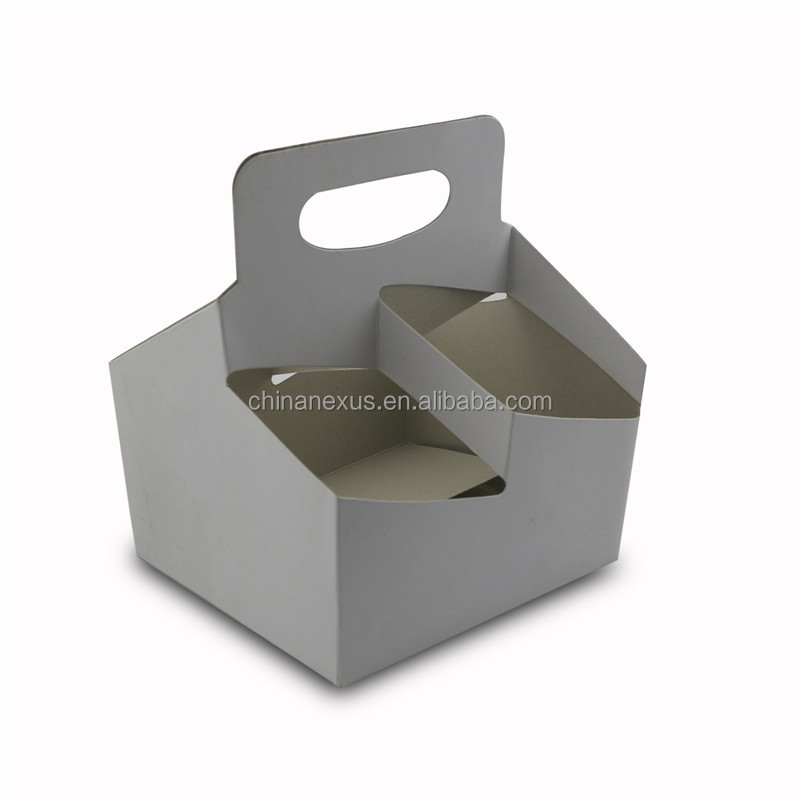 350g Grey Paper Coffee Cup Holder With Handle