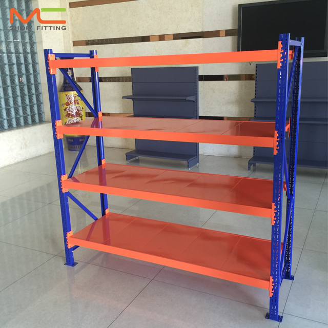 Adjustable warehouse nuts and bolt shelving