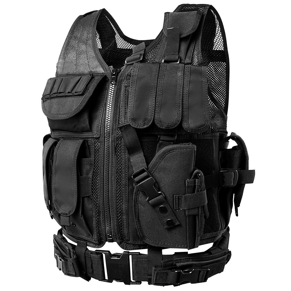 Adjustable Tactical Vest with Holster and Pouches - MOLLE Tactical Vests Specially Designed for Military, Cs Field, SWAT, Police, Law Enforcement and Outdoor - Modular Assault Vest (Black)
