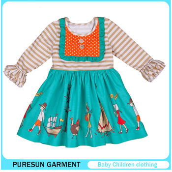 edb9609a0 Thanksgiving children girls boutique outfits kids ruffle shirts polka dots  dress and leggings baby clothes set