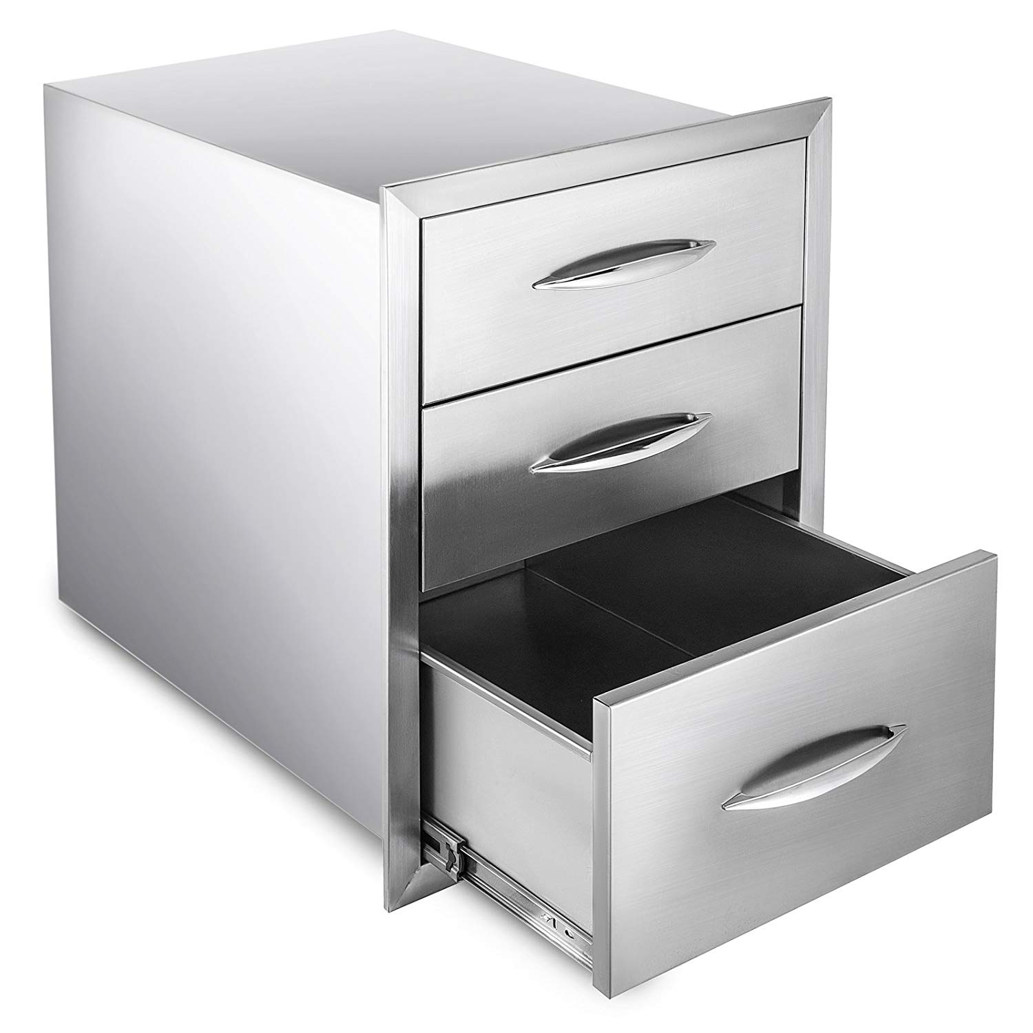 """Happybuy Outdoor kitchen drawer 18""""x15"""" Stainless steel BBQ Island Drawer storage with Chrome Handle Double Access Drawer Flush Mount Sliver Double Access Drawer (Outdoor kitchen drawer 18""""x23"""")"""