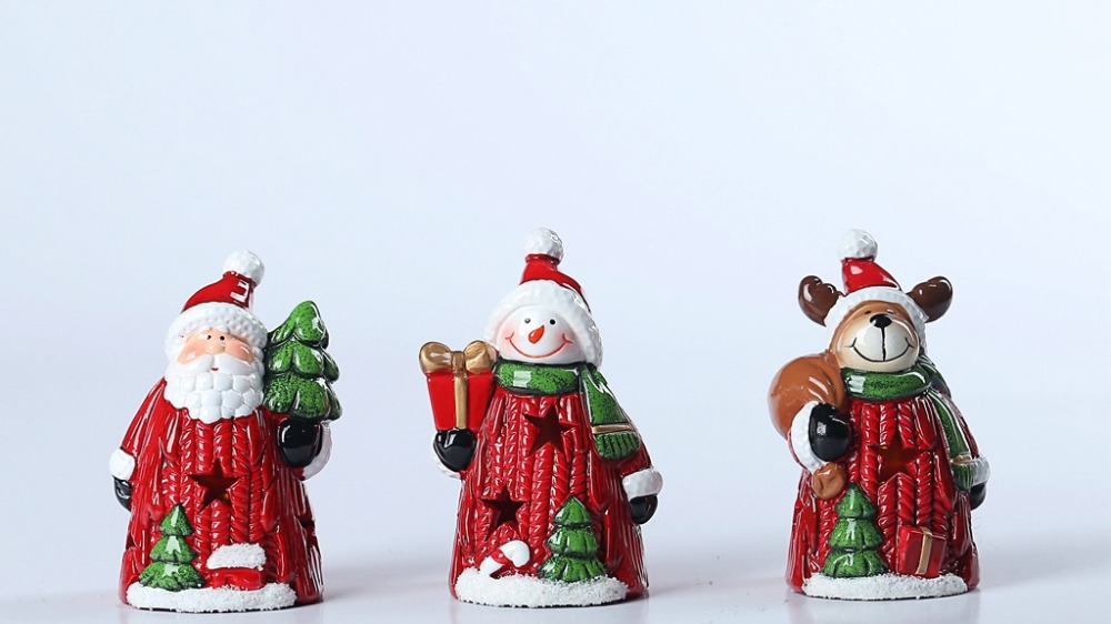 S/3 Holiday X'mas Decoration Pottery Santa Claus & Snowman & Deer with Led Ball for Christmas Decoration