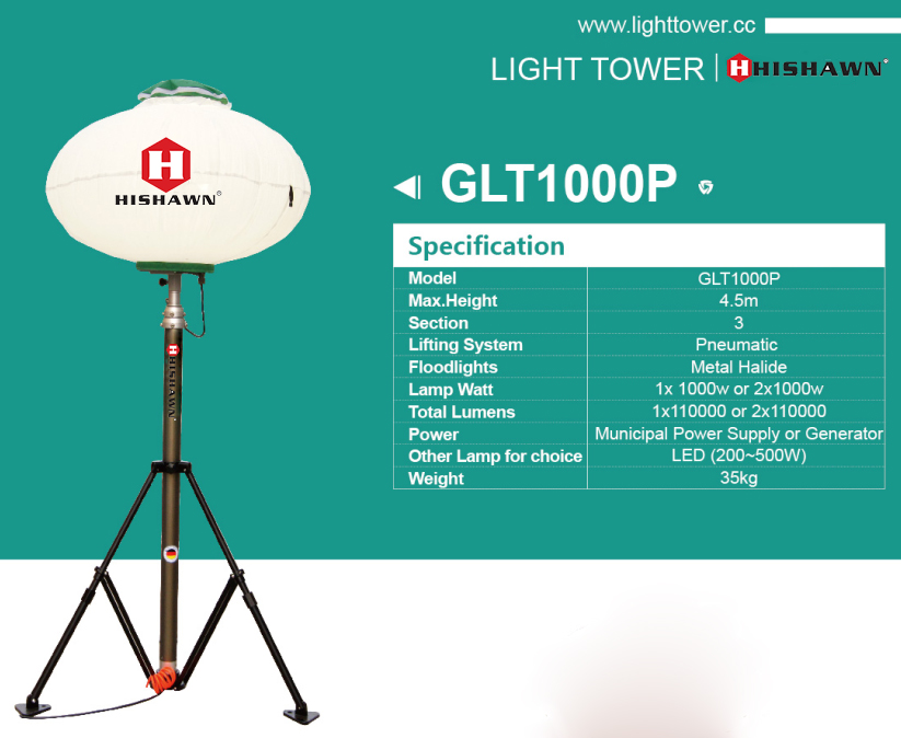 Pneumatic lifting tripod balloon light tower for emergency