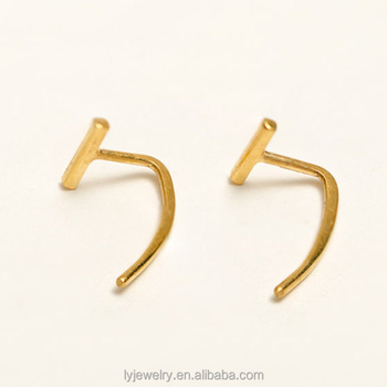 Fashion Gold Plated Open Hoop Earrings Sterling Silver Accessories Wholesale LYE0089