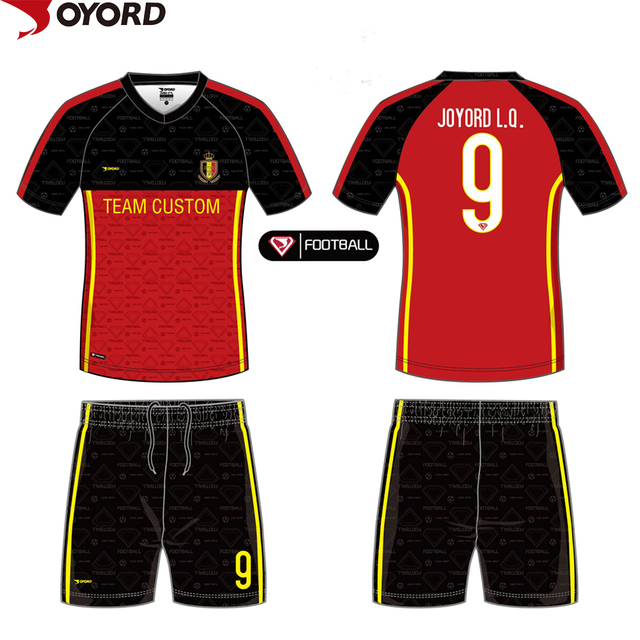 Custom black and red soccer jersey design your own soccer jersey made in  china 5b9f7cb43