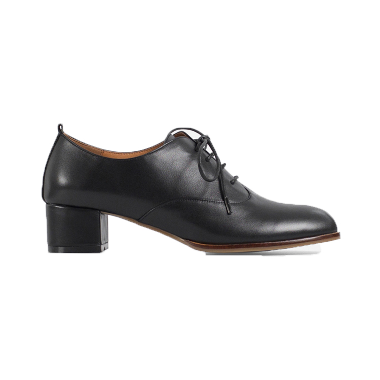 T003 Black genuine leather lace up comfort oxford outsole shoes