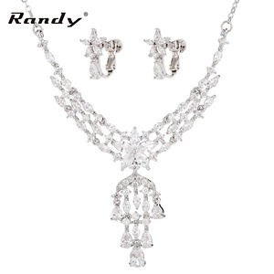 African Jewelry Sets India Tassel Pendant CZ Bridal Jewelry Sets