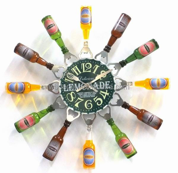 2015 Special Design Dia40cm Kitchen Wall Clock with Bottle & Bottle opener