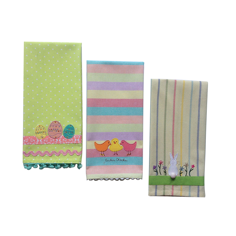 easter embroidery print cotton yarn-dyed lace kitchen towel