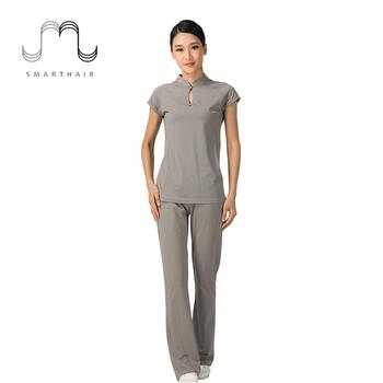 Smarthair lx47018 cotton modal grey beautician women spa for Spa uniform cotton