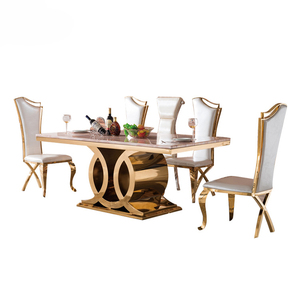 2017 new luxury stainless steel dining table set modern marble dining table set with marble table top