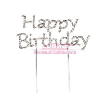 Remarkable Silver Rhinestone Cake Topper Happy Birthday Script Monogram Party Funny Birthday Cards Online Aboleapandamsfinfo