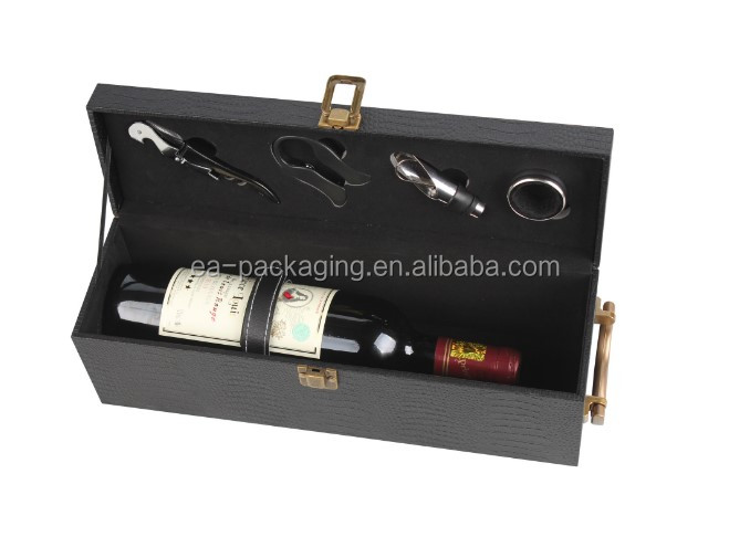 Custom made pu leather box, leather wine box, wine packing box