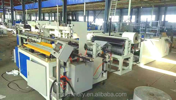 Automatically toilet paper rewinding and perforating machine
