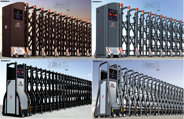 Industrial Retractable Gates : Customized automatic retractable gate electric accordion