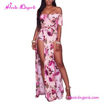 d9dc3ffd8f603 Plus Size Rosa Fora Do Ombro Dividir Vestido Floral Macacão Boho ...