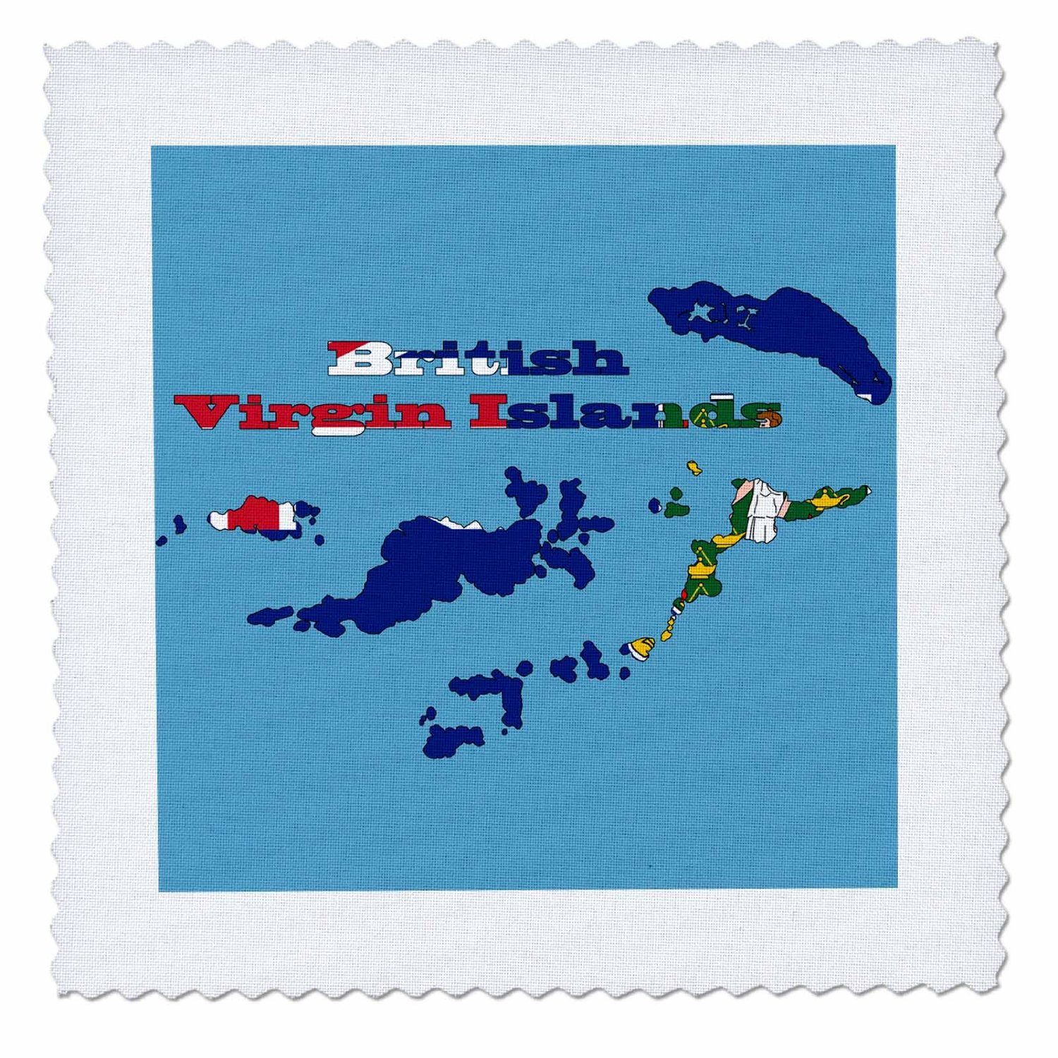 777images Flags and Maps - Caribbean - BVI Flag in outline map and name British Virgin Islands - 10x10 inch quilt square (qs_184178_1)
