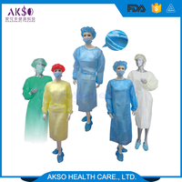 Disposable Hospital Safety Non woven Operating gown Yellow Isolation Gown