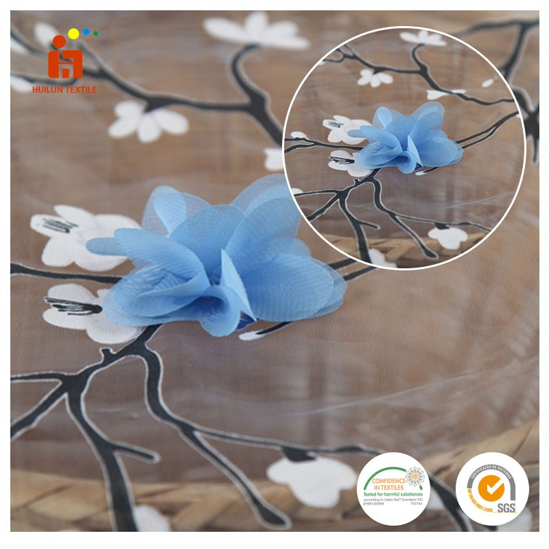 China fabric market wholesale 3d flower applique organza lace hand embroidery fabric