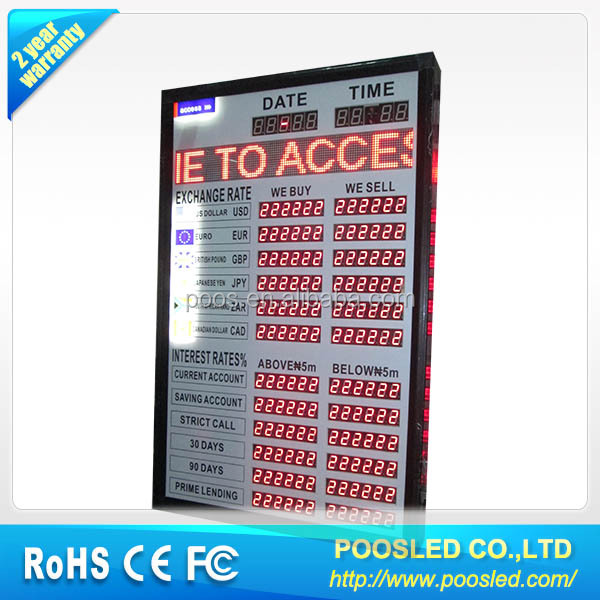 led rate currency sign  led exchange bank screen  led exchange rate screen