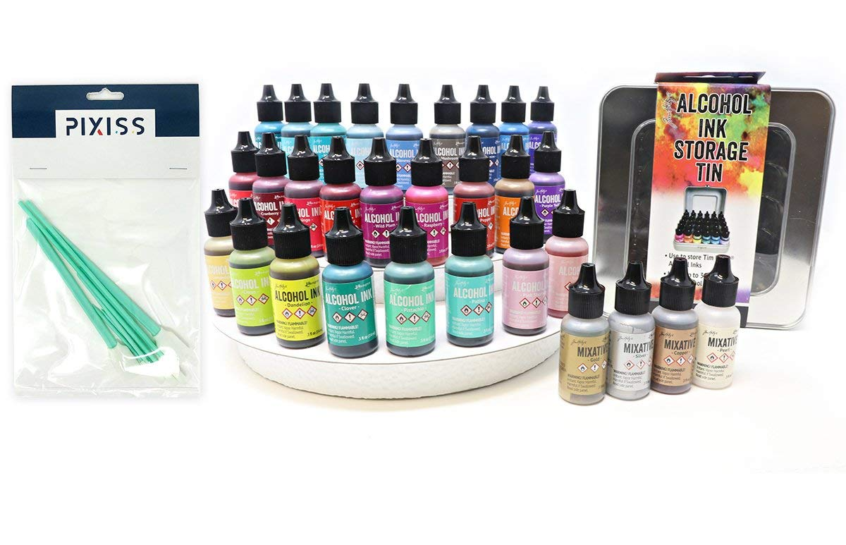 26x Tim Holtz Alcohol Ink .5oz Bottles (Assorted Colors), 4x Tim Holtz Alcohol Ink Metallic Mixatives (Gold, Silver, Copper, Pearl), Tim Holtz Alcohol Ink Storage Tin, 8x Pixiss Ink Blending Tools