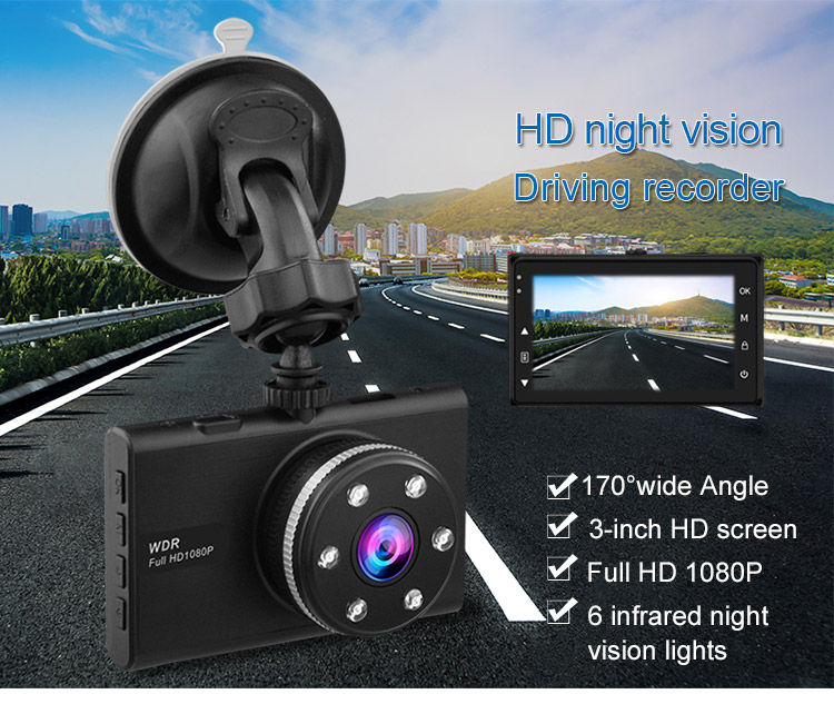motorcycle 6 led night vision 170 degree full hd 1080p car dvr dash cam