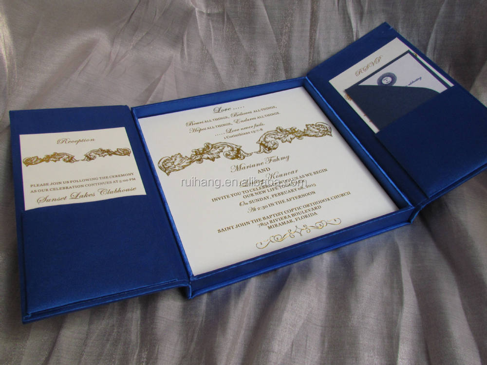 Navy Blue Gatefold Wedding Invitation Box With Brooch