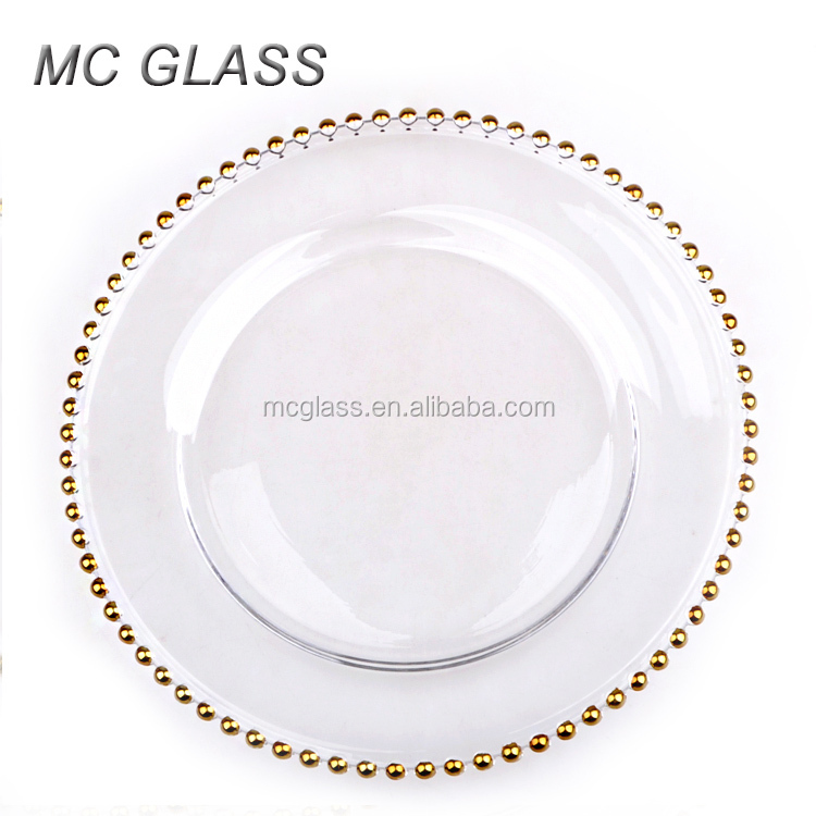 Clear Plastic Charger Plates With Gold Beads Wedding Tips and