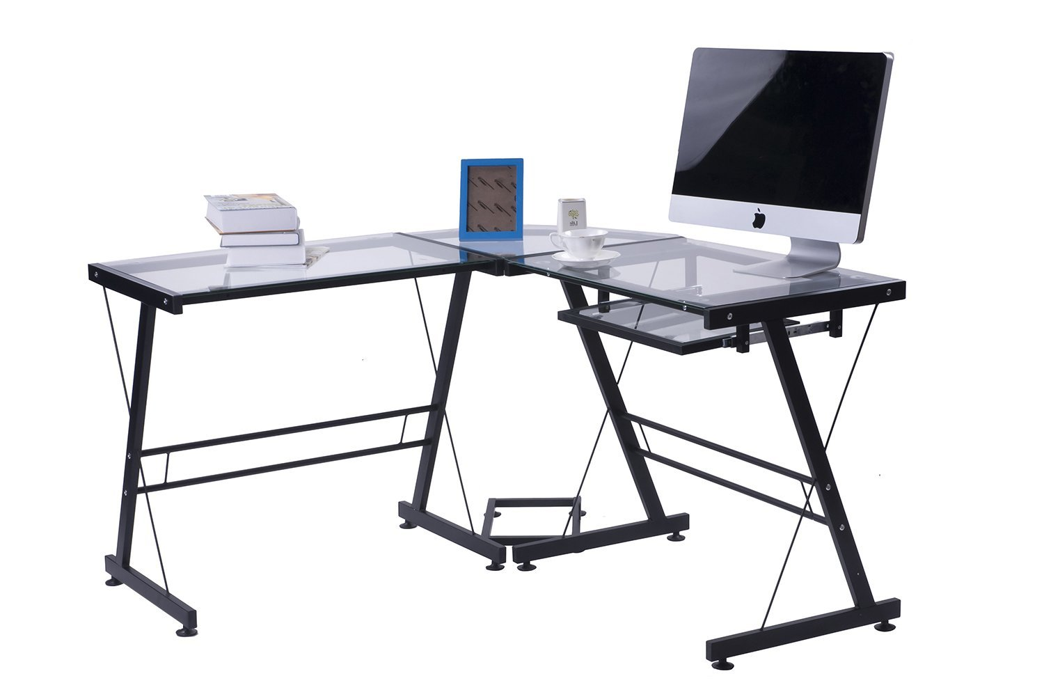 Merax Modern Office Computer Desk L Shaped Corner Desk with Tempered Safety Glass Black Corner Computer Desk