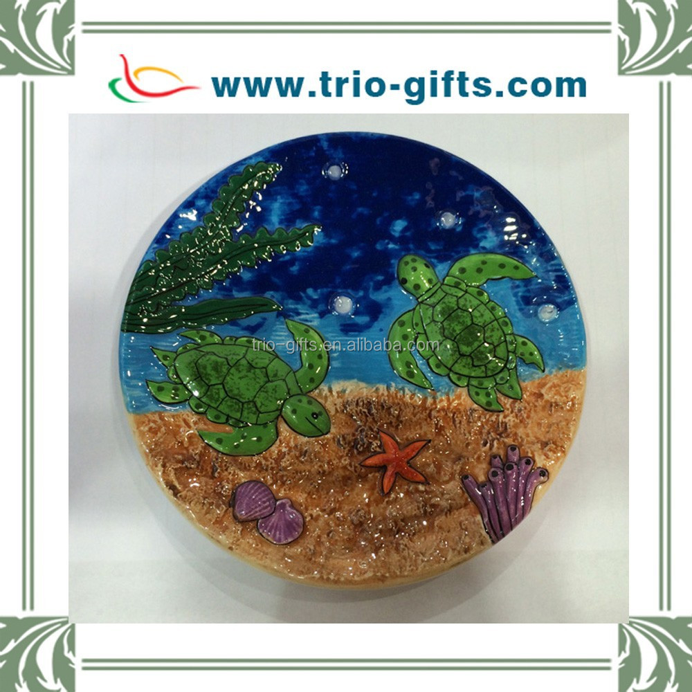 Round shape custom ceramic plate with turtle decorative