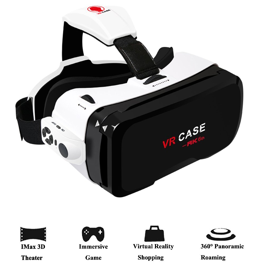 "3D VR Headset,Hamaxa 360° Virtual Reality Glasses Video Games 3D Movies Glass with Bluetooth Remote Controller Goggles Cardboard for Android Samsung Galaxy iPhone 7 plus 6s 4.0""- 6.0"" Smartphone"