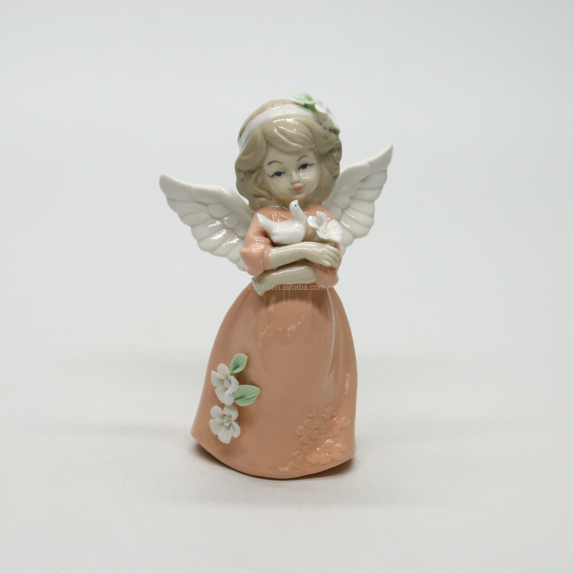 Porcelain flower fairy ceramic figurines for home decoration