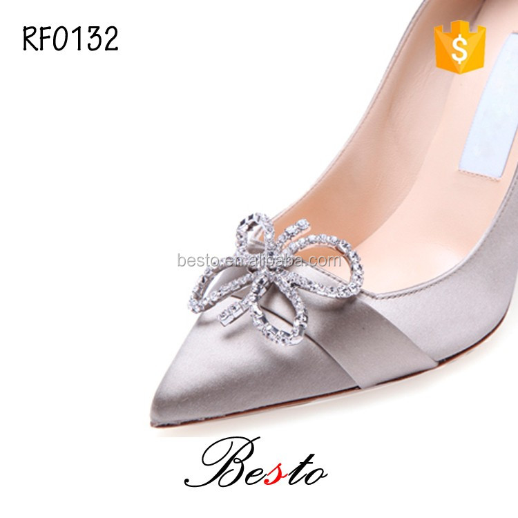 Decorative high heel sparkle bridal shoe clip for ladies shoes