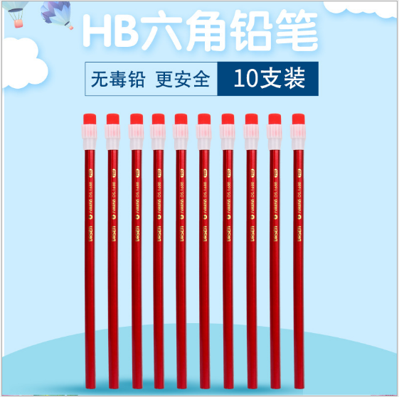 Cheap wholesale high grade red color basswodd HB pencil with big eraser