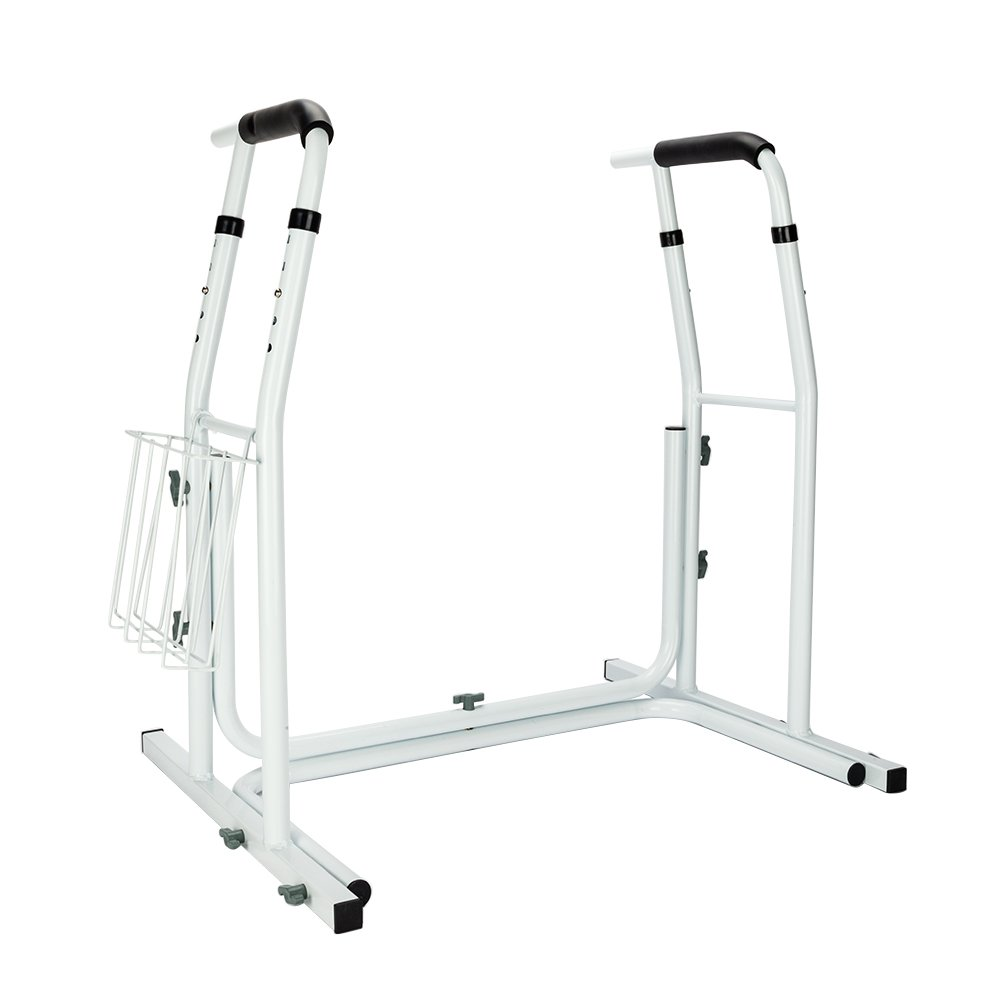 Mefeir Toilet Grab Rail Stand Alone Medical Safety Assist Frame w/ Grab Bars & Railings for Elderly, Senior, Handicap & Disabled