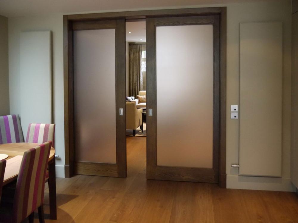 Decorative Partition Wall Double Sliding Glass Door Panels
