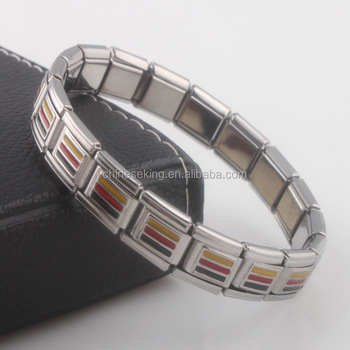 Germany Country Flag Stretch Bracelet Charms Bangle Elastic Stainless Steel