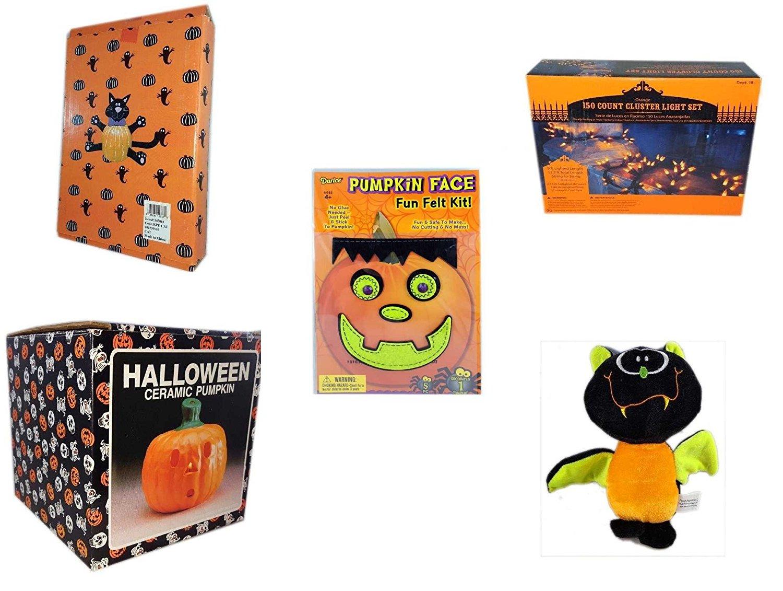 Halloween Fun Gift Bundle [5 piece] - Halloween Cat Pumpkin Push In 5 Piece Head Arms Legs - 150 Count Cluster Orange Light Set - Darice Pumpkin Face Fun Felt Kit - Frankenstein - Halloween Ceramic