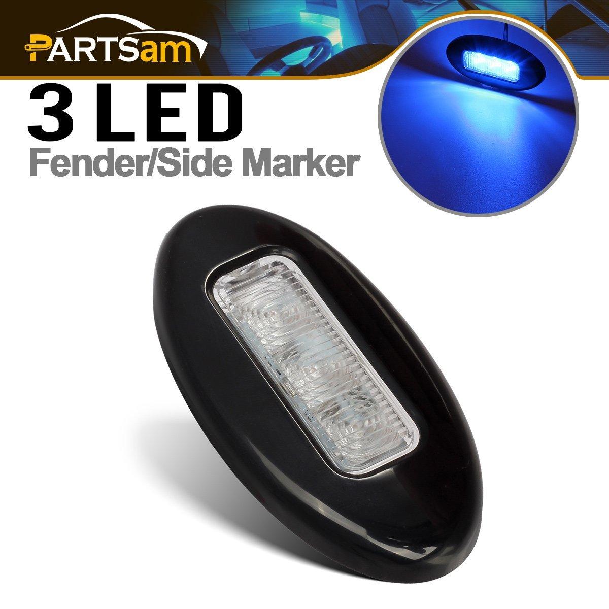 """Partsam 3-1/4"""" Marine Boat RV 3 LED Blue Led Oval Courtesy Light Surface Mount Black Finish Electrical Lighting Parts"""