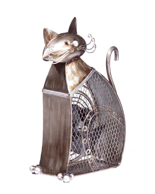 Deco Breeze Decorative Figurine Table Fan, Cat, 7-Inch by 8-Inch